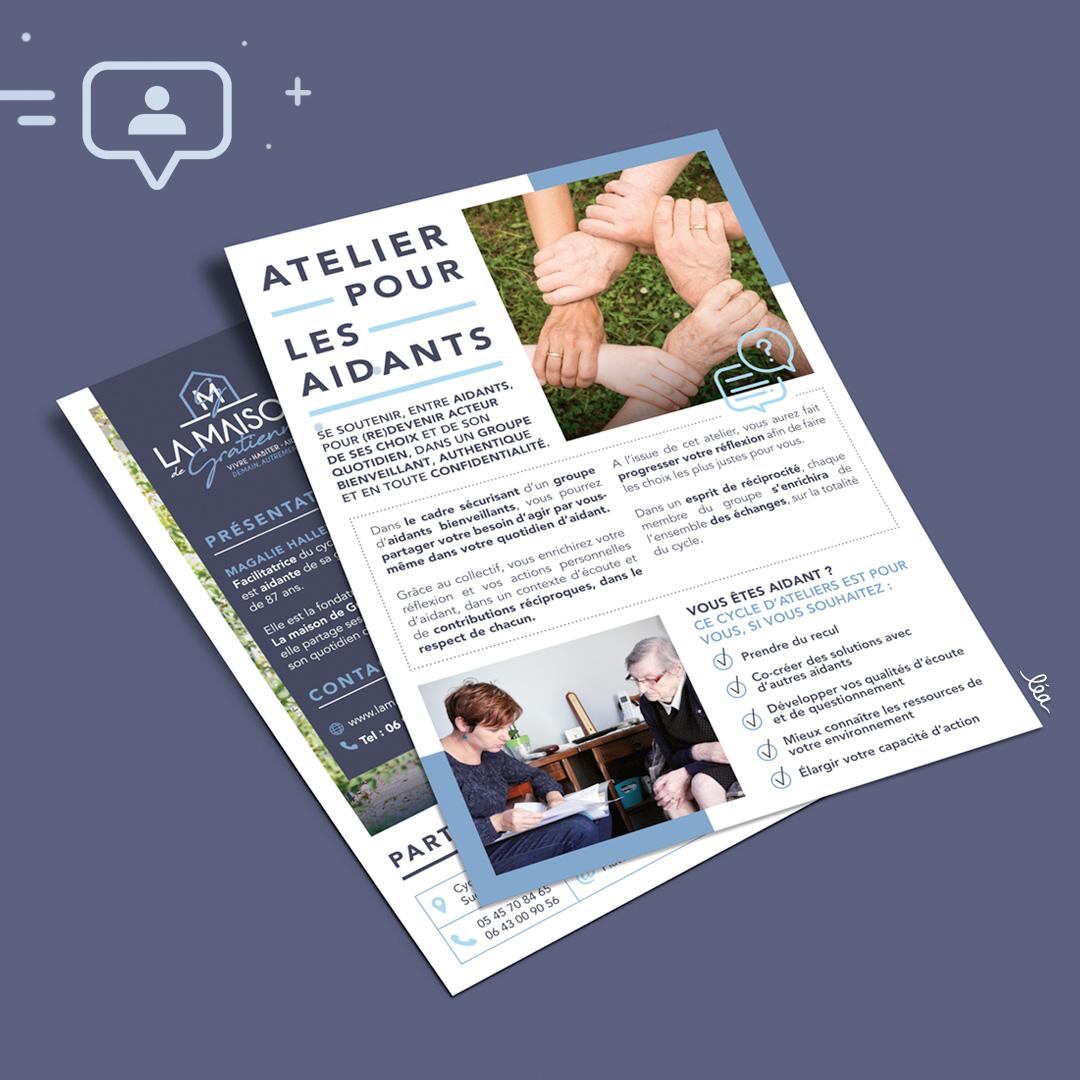 Projet ateliers des aidants - Flyer - Print - Maison de gratienne - Magalie Halley